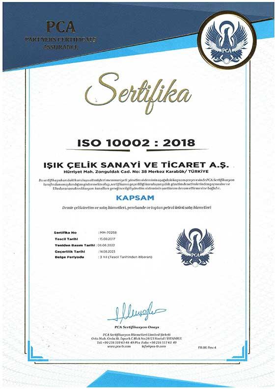 Işık Çelik ISO 10002 2004 Setifikamız
