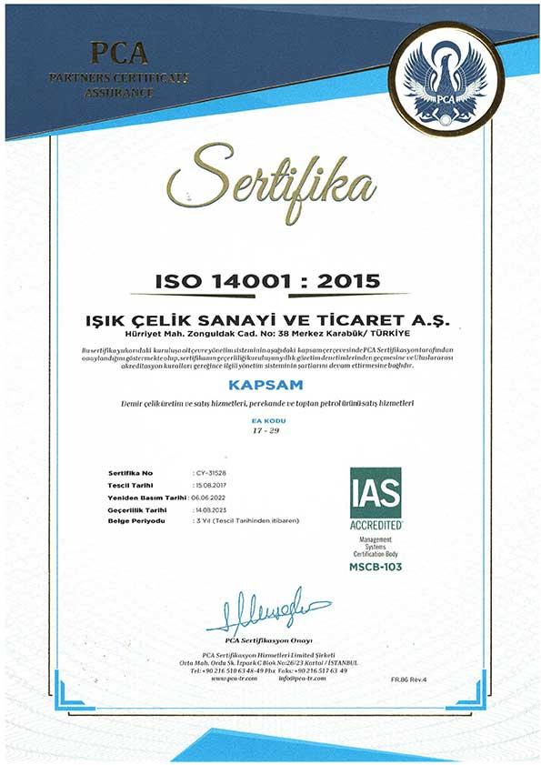 Işık Çelik ISO 14001 2015 Sertifikamız