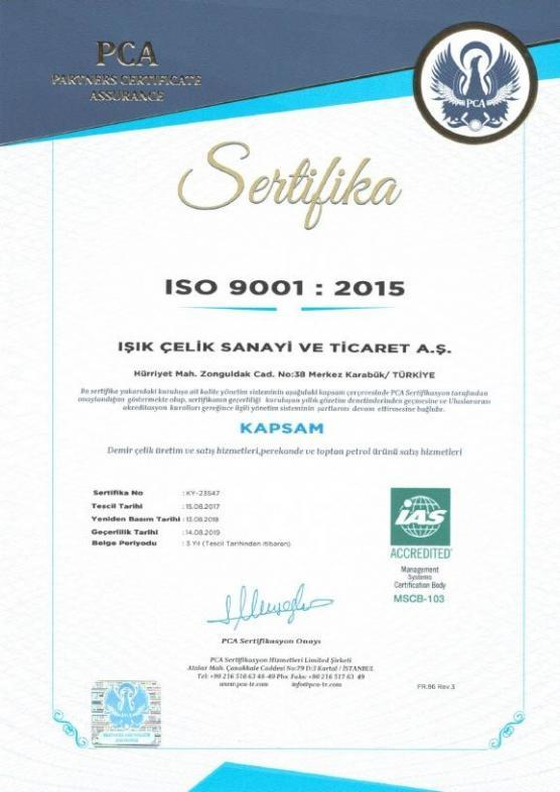 Işık Çelik ISO 9001 2015 Sertifikamız