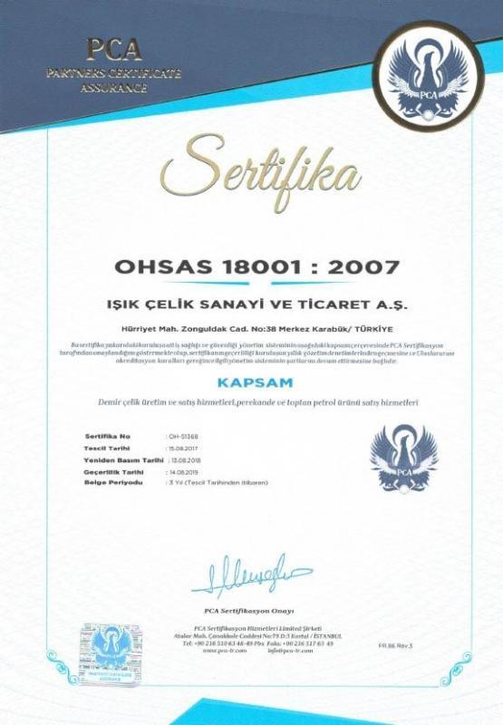 Işık Çelik OHSAS 18001 2007 Sertifikamız